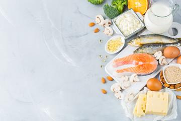 Fototapeta Assortment of healthy vitamin d and calcium source food obraz