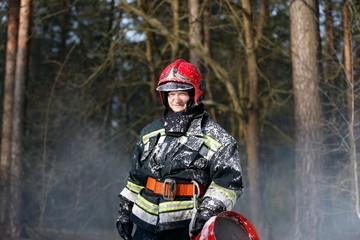 Extinguishing forest fire.,Fire man.Extinguish forest fires. Fighting fire