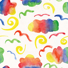 watercolor rainbow clouds and swirls as seamless pattern