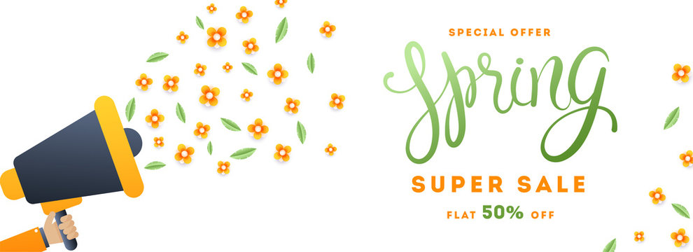 Super spring sale header or banner design with megaphone and paper cut flowers for advertising concept.