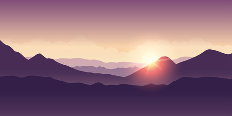 sunshine in the mountains purple landscape vector illustration EPS10