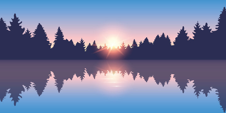 beautiful lake at sunrise pine forest nature landscape vector illustration EPS10