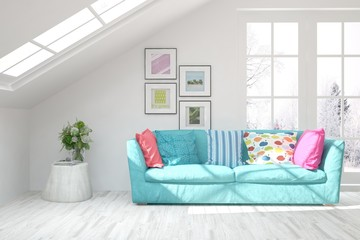 White stylish minimalist room with colorful sofa. Scandinavian interior design. 3D illustration