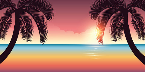 colorful ocean and sky on the beach with palm trees vector illustration EPS10 Wall mural
