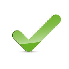 Glossy green check mark icon, tick symbol on white background