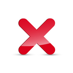 Glossy red x mark icon, cross symbol on white background