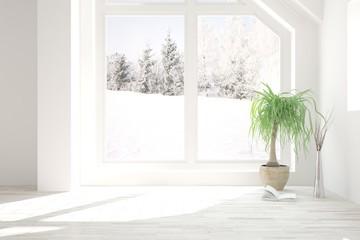 White stylish empty room with winter landscape in window. Scandinavian interior design. 3D illustration