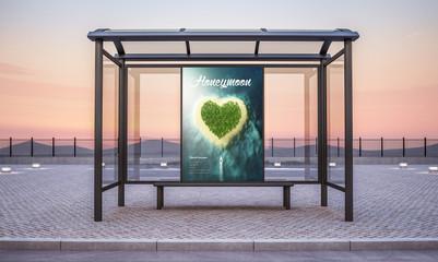 travel honeymoon billboard on bus stop kiosk