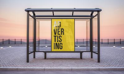 billboard on bus stop kiosk