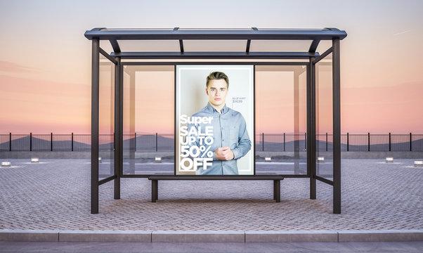 fashion sale billboard on bus stop kiosk