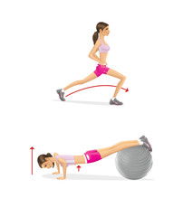 Girl is training. Strengthening the muscles of the arms and chest push-ups on fitball. Lunges feet first