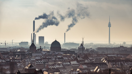 Nuremberg panoramic view with smoking chimneys