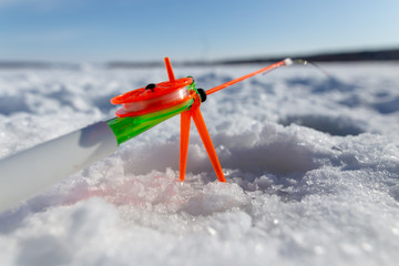 Fishing rod for ice fishing in winter