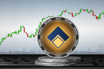 Digix Gold Token; cryptocurrency coins - Digix Gold Token (DGX) on the background of the chart