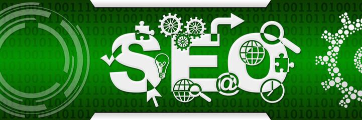 SEO - Search Engine Optimization Green Binary Background Technical
