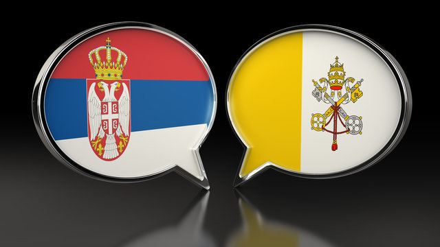 Serbia and Vatican City flags with Speech Bubbles. 3D illustration