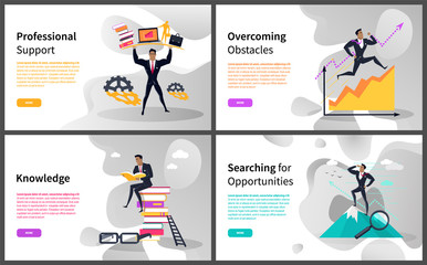 Business career building and growth online web pages vector. Professional support and overcoming obstacles, knowledge and searching for opportunities. Website template landing page in flat