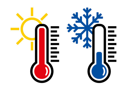 Thermometer icon or temperature symbol, vector and illustration