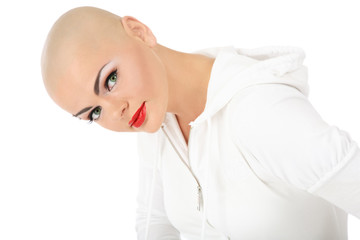 Portrait of beautiful skinhead girl with glamorous makeup