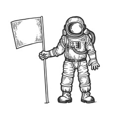 Astronaut spaceman with flag sketch engraving vector illustration. Scratch board style imitation. Black and white hand drawn image.