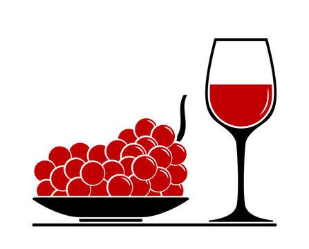 wine glass and grape