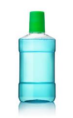 Plastic bottle of blue mouthwash