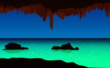 landscape of cave in the sea