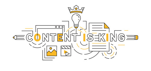 Content is King Flat Line Design In Orange. Content Creative and Ideas Concept in Doodle Style