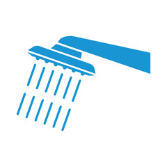 Shower, icon. Blue. Abstract concept. Vector illustration.