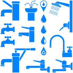 Water faucet, shower, fountain, old water pump, water drop. Set of icons. Blue. Vector illustration.