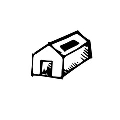 Icon black Hand drawn Simple outline home Symbol. vector Illustrator. on white background