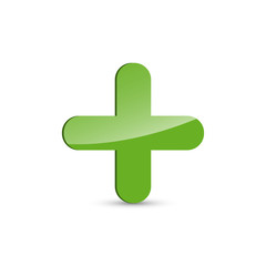 Glossy green plus sign, positive symbol on white background