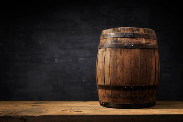 Wall Mural - background of barrel and worn old table of wood