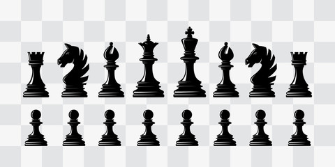 Chess piece icons. Board game. Black silhouettes.