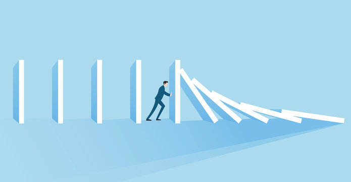 Business concept of a businessman trying to stop domino effect Banner Concept
