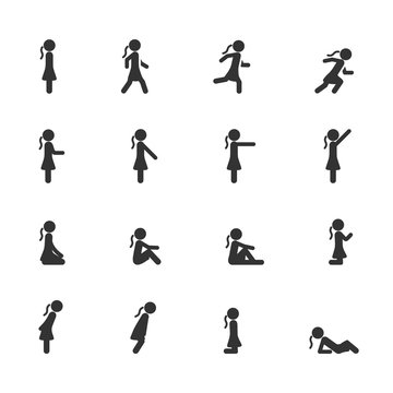 Vector set of women standing walking running sitting lying pointing in different poses icons.
