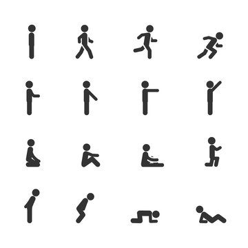Vector set of man standing walking running sitting lying pointing in different poses icons.