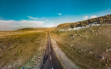 Road and hills close to Desert Lake near Mount Erciyes in Kayseri Turkey