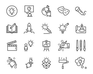 set of creative icons , such as thinking, drawing, work, education