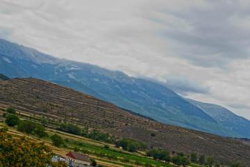 Paisaje, campo, montes, montaña, cielo, nubes, niebla, españa, Moncayo, panoramico.