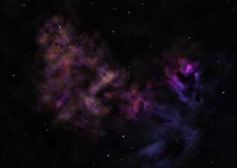 Being shone nebula. 3D rendering