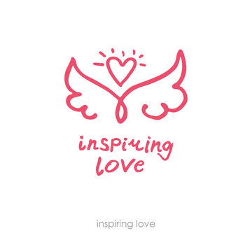 Inspiring love. Hand drawn positive logo. Line art wings and heart. Can be used for different designs, for example a print on a t-shirt.