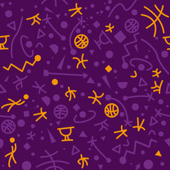 Purple abstract sport seamless pattern. Abstract pattern included in swatch.