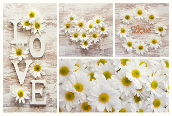 """The word """"love"""" and daisies flowers on a wooden background for a Valentine's Day."""