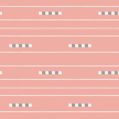 Sophisticated white and soft brown hand drawn tiles and stripes on vibrant coral background. Seamless vector pattern in fresh modern style. Perfect for stationery, textiles, home decor, giftwrapping