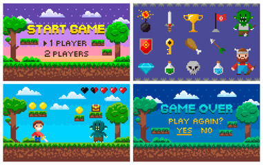 Pixel art game in 8 bit character life info and scenery vector. Isolated icons set trophy and sword, bomb and troll rival, alien and treasure arcade