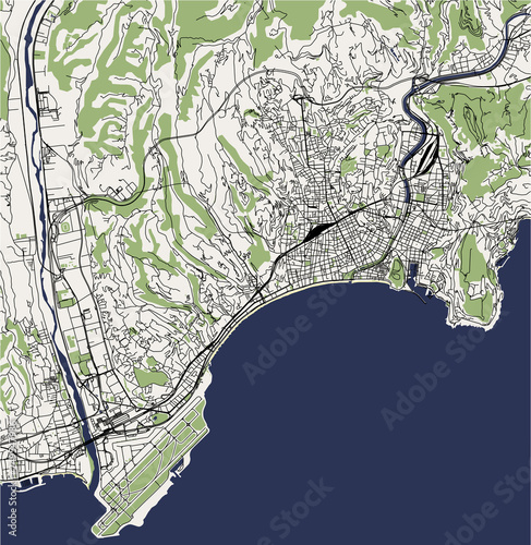 Vector Map Of The City Of Nice Provence Alpes Cote Dazur Alpes