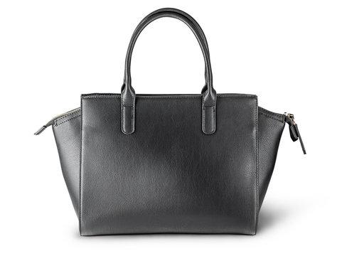 Ladies black leather bag back view