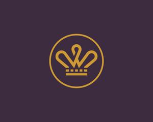 Elegant crown vector logo. Tiara king line logotype.