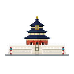 Temple of Heaven, Beijing, China, flat design vector icon
